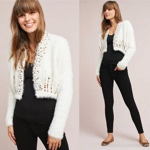 Knotted and Knitted Soirée Ivory Crop Cardigan